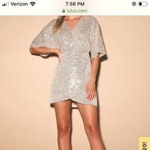 Weekender Silver Sequin Faux-Wrap Mini Dress